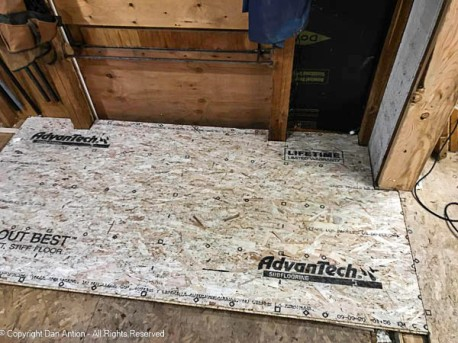 The first piece of new subfloor was the hardest one to cut.