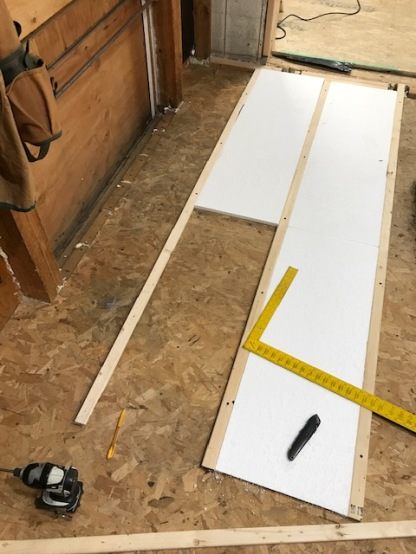 """Judy asked about the 1x2"""" strapping I used to bring the new floor panels up to the proper height. More strapping and insulation was added before that first sheet went down."""