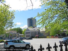 View of the Welcome Center from the parking lot. The Seuss Museum is on the right.