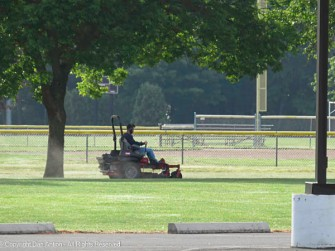 Keeping the park ready for sports.