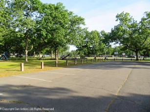 There will be people in this park later. We walk at 7:15 am.