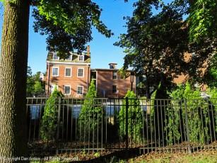The Amos Bull House as seen from Pulaski Mall.