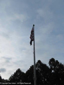 Old Glory as the storm approaches.