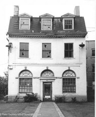 The Amos Bull House in 1968. The arched windows had been added and the door had been moved to the center at some point.