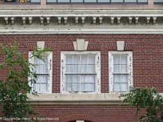 The third floor originally housed accommodations for visitors. The window details and roof line are interesting.
