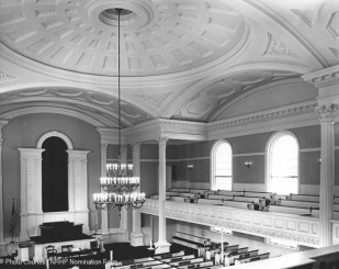 Interior detail, showing galleries, vaults and dome view northwest - 1977