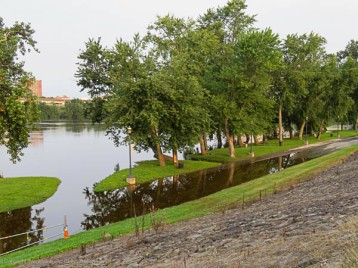 Great River Park after the sustained rains of July. That's a picnic area, not an island.