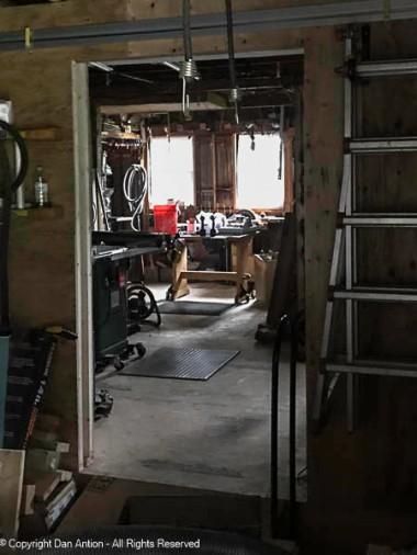 Peeking into my shop from the garage door.
