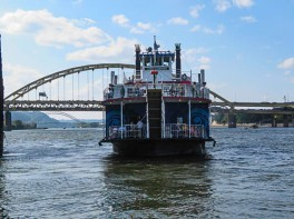 One of the Gateway Clipper boats leaving for a sightseeing tour.