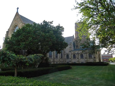 First Presbyterian Church is located in a beautiful setting.