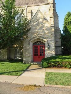 Side door to the Presbyterian church.