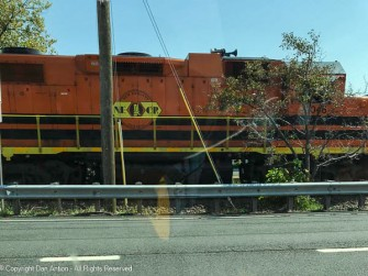 This train was stuck. The 59 cars behind it were blocking access to the bridge over the river.