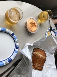 Smoked salmon, smoked cheese dip and Lost Lake Pilsner