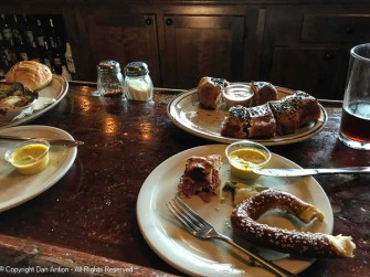 Soft pretzels, stuffed mushrooms, rueben roll-ups at The Thirsty Pagan Brewery