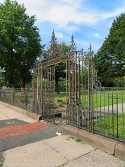 Gate at the entrance to Keney Clock Tower park
