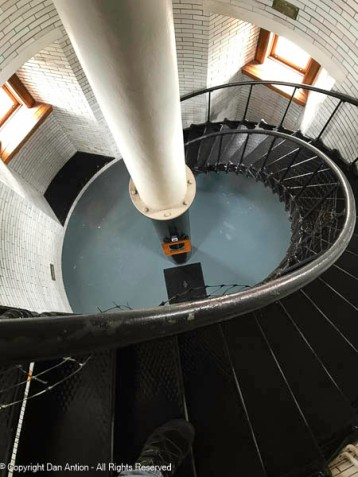 Looking down the circular staircase
