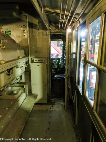 Looking forward to the cab of one of the electric locomotives.