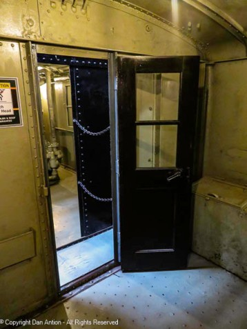 Inside one of the early electric freight trains.