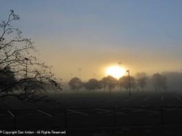 The sun is working hard to burn off the fog